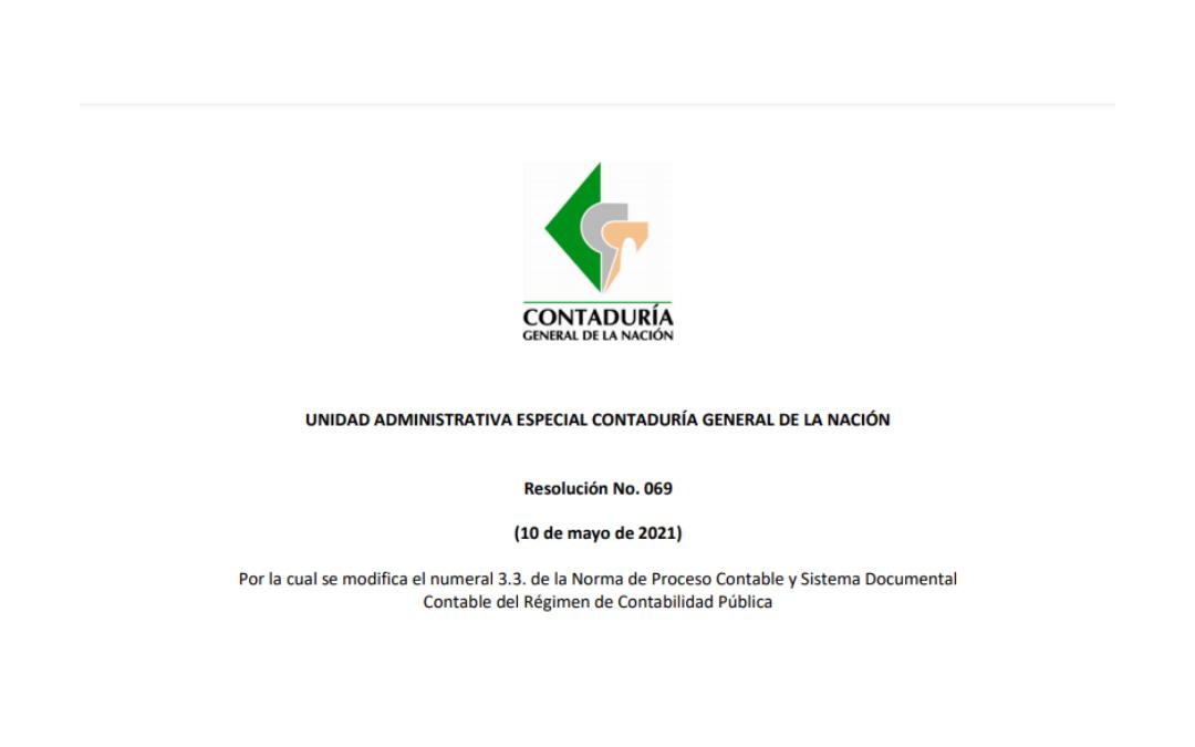 Resolución CGN 069 de 2021 Agregación de información en Municipios, Distritos y Departamentos