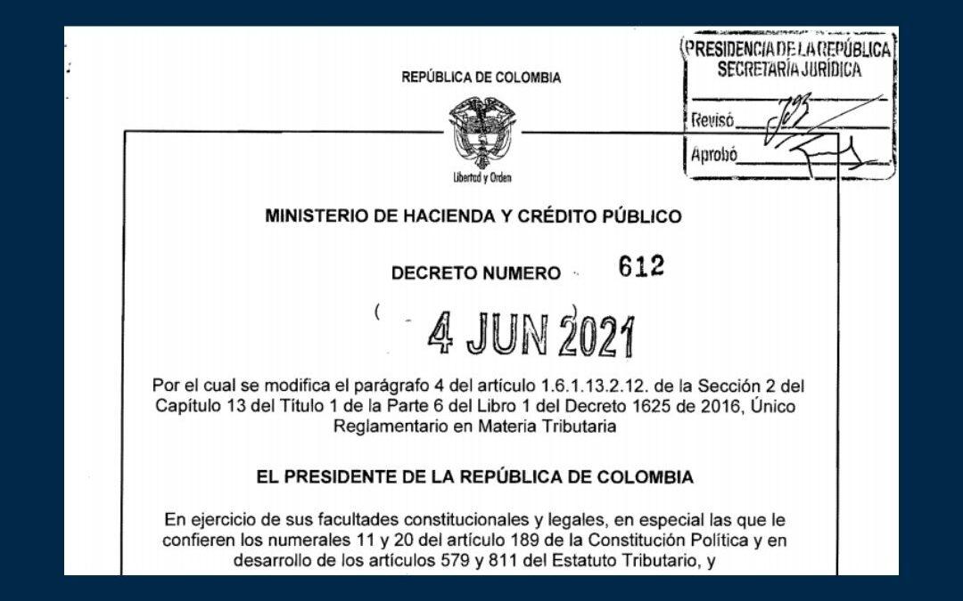 Decreto 612 de 2021 que señala nuevos plazos para el pago de la única cuota de renta para las micros y pequeñas empresas.
