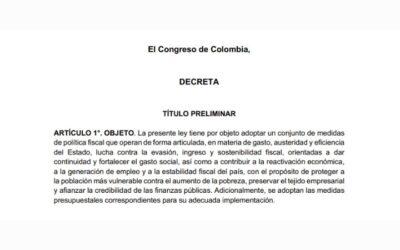 Proyecto de Ley de Inversión Social y se dictan otras disposiciones