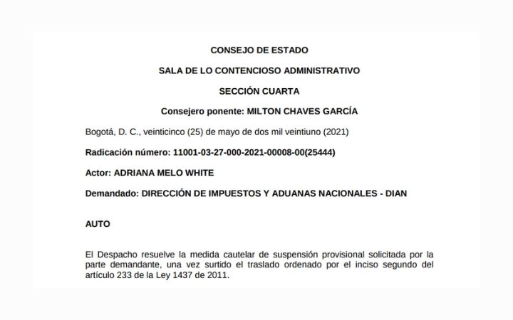 Auto No. 25444 de 2021: Medida Cautelar de Suspensión Provisional de Acto Administrativo