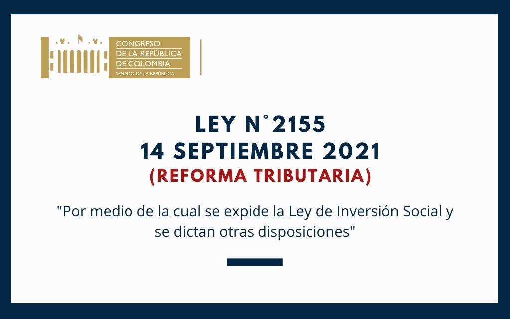 Ley N.º2155 (14 Septiembre 2021) Reforma Tributaria